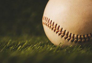 Baseball used put on green grass background. sport game macro shot.